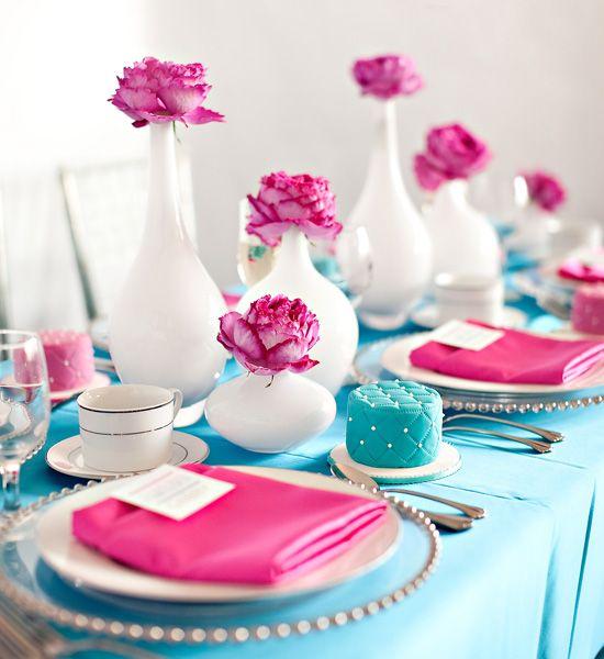 Azul Tiffany Rosa Pink Mesa Estilosa Vaso Branco Flor Com