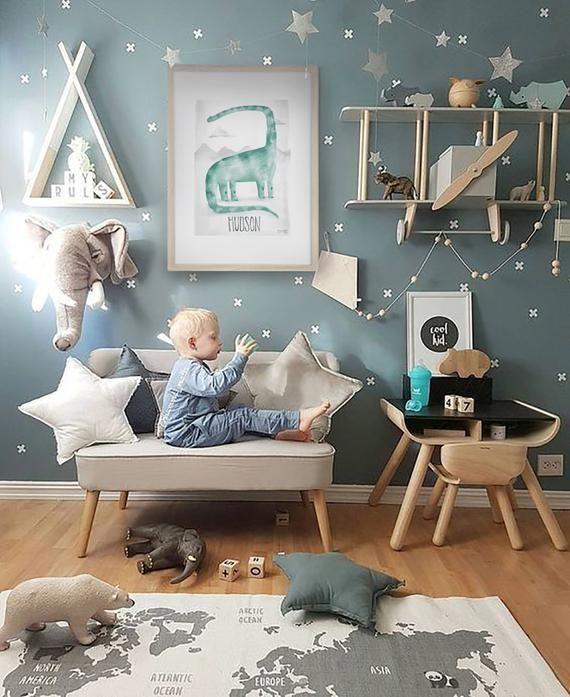 Pip+Phee Dinosaur Personalized Nursery - Baby Boy Wall Print #dinosaurnursery