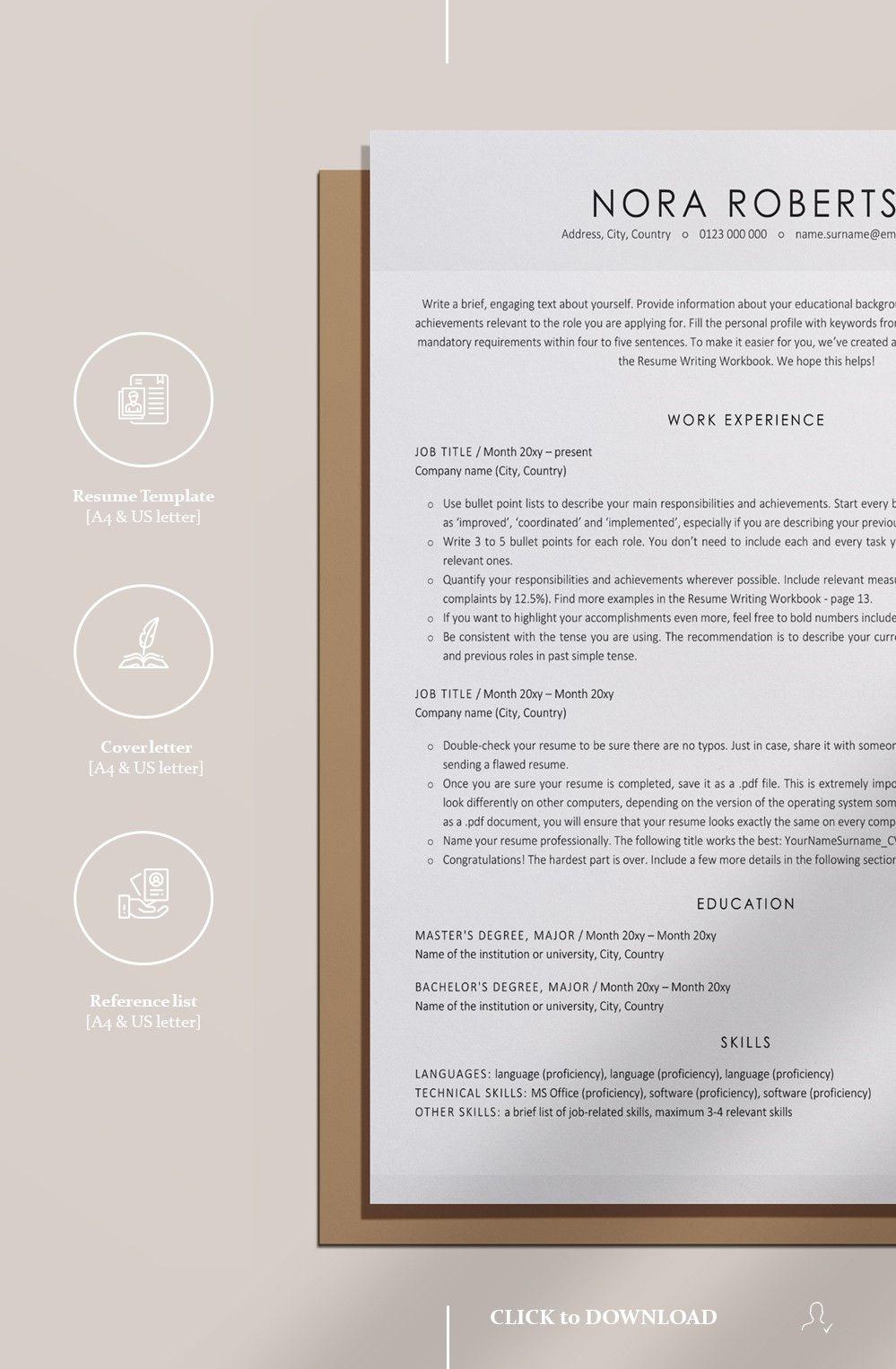 Minimalist Resume Template Ats Friendly Resume Professional Cv Template Modern Cv Executive Resume Template Minimalist Resume Template Cover Letter Template