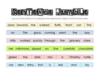 Tpt Freebie Practice Sentence Structure With These Jumbled Sentences Don T Worry Answers Are Included Colour Coded Sente Jumbled Words Sentences Jumbled
