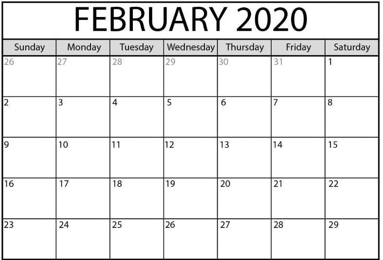 Blank Calendar February 2020 Template Word Excel In 2020