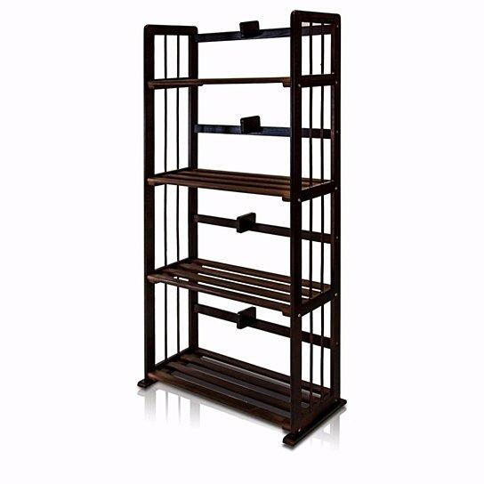 Furinno Pine Solid Wood 4-Tier Bookshelf, Espresso (With