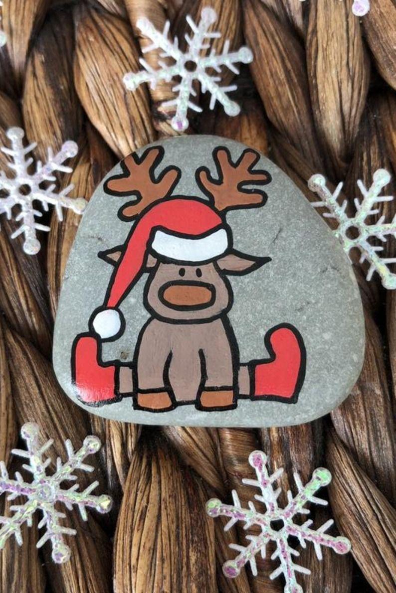 Christmas Story Stones, Rudolf, Mini set of 5, Christmas gift for toddler, Painted rock