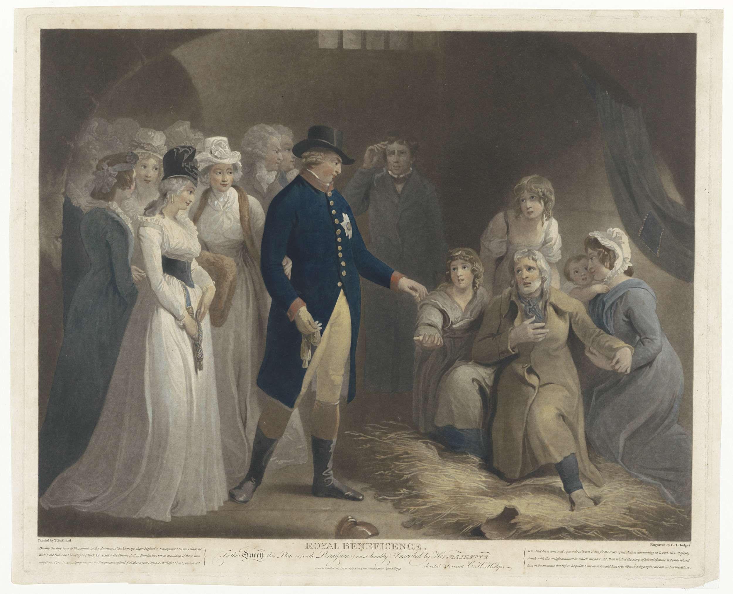 Charles Howard Hodges | George III bezoekt met zijn familie de gevangenis te Dorchester, Charles Howard Hodges, 1793 | George III, koning van Groot-Brittanië en Hannover, bezoekt met de koninklijke familie de gevangenis te Dorchester. Hij schenkt geld aan een oude man die met zijn vrouw en hun drie dochters op de knieën in het stro zitten. Met het geld kan de man zich uit het gevang kopen.