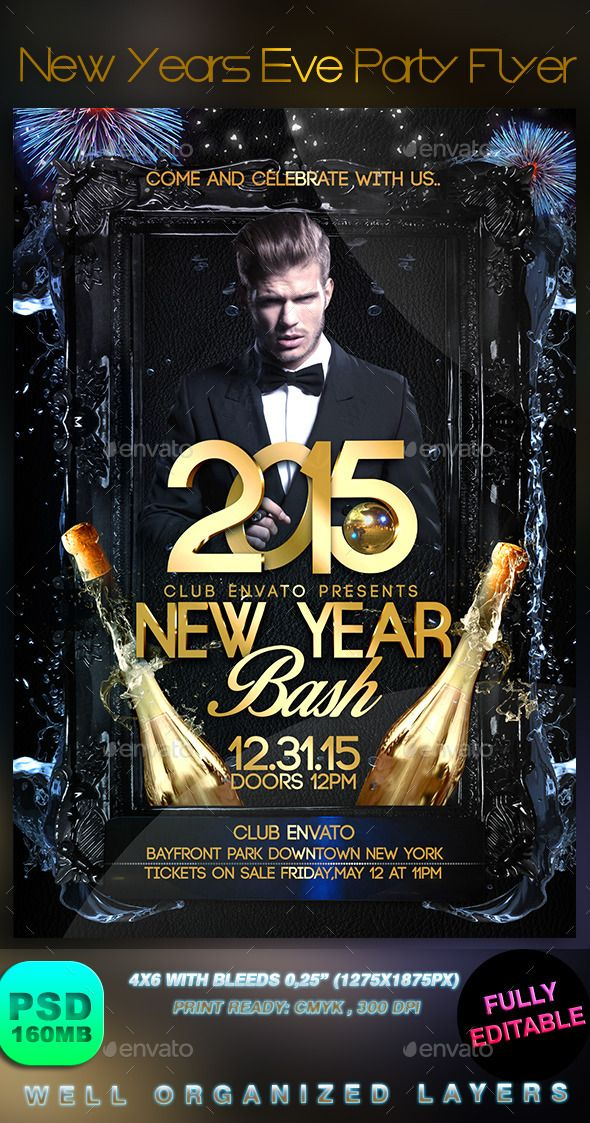 New Years Eve Party Flyer  Party Flyer Flyer Template And Template