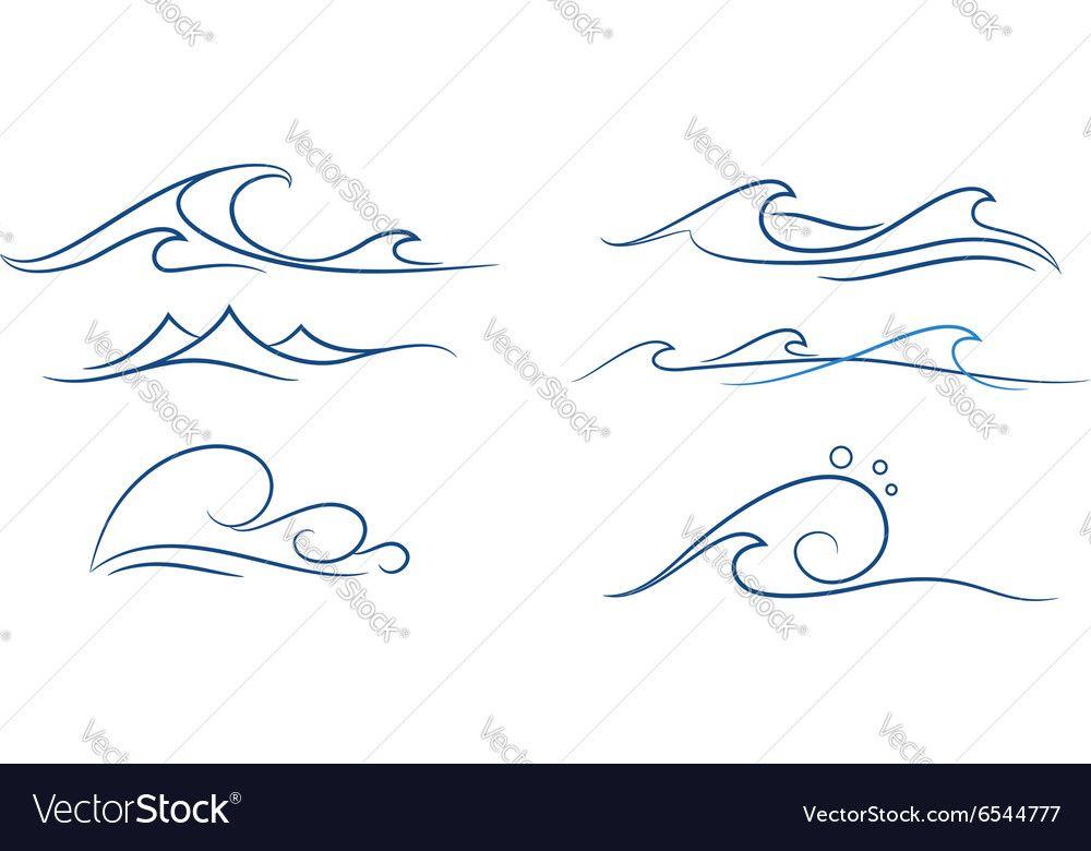 Simple waves set vector image on VectorStock