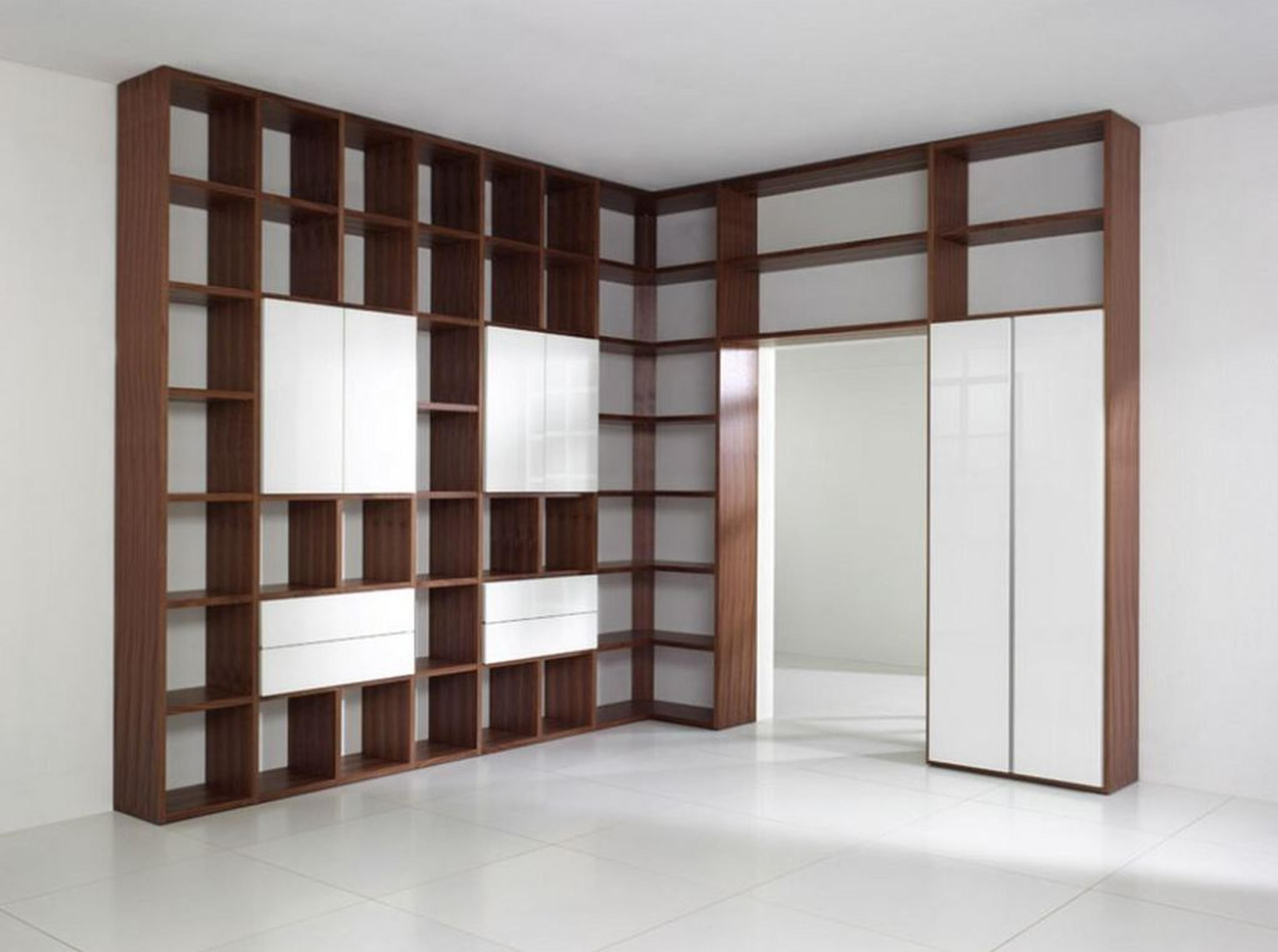 Wonderful White Brown Wood Modern Design Bookshelves Dvd Wood Mahogany Large Wall Brown Color Storage Shelves Interior Furniture At House As Well As Wire