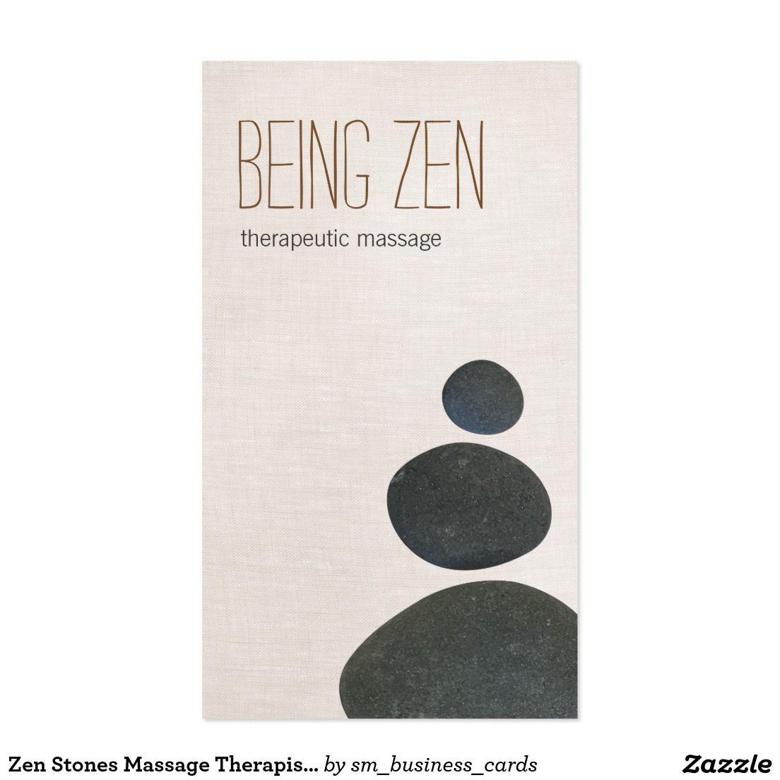 Zen Stones Massage Therapist & Meditation Teacher Business Card ...