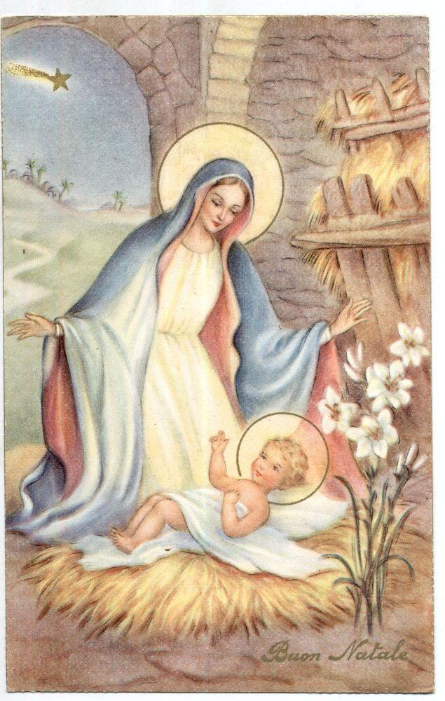 Immagini Sacre Di Buon Natale.Madonna Con Gesu Bambino Buon Natale Virgin Mary W Jesus Pc