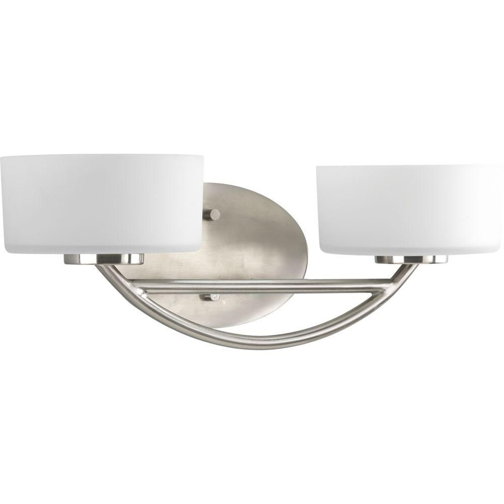 Progress Lighting Calven Collection 2 Light Brushed Nickel Vanity Fixture P3210 09wb