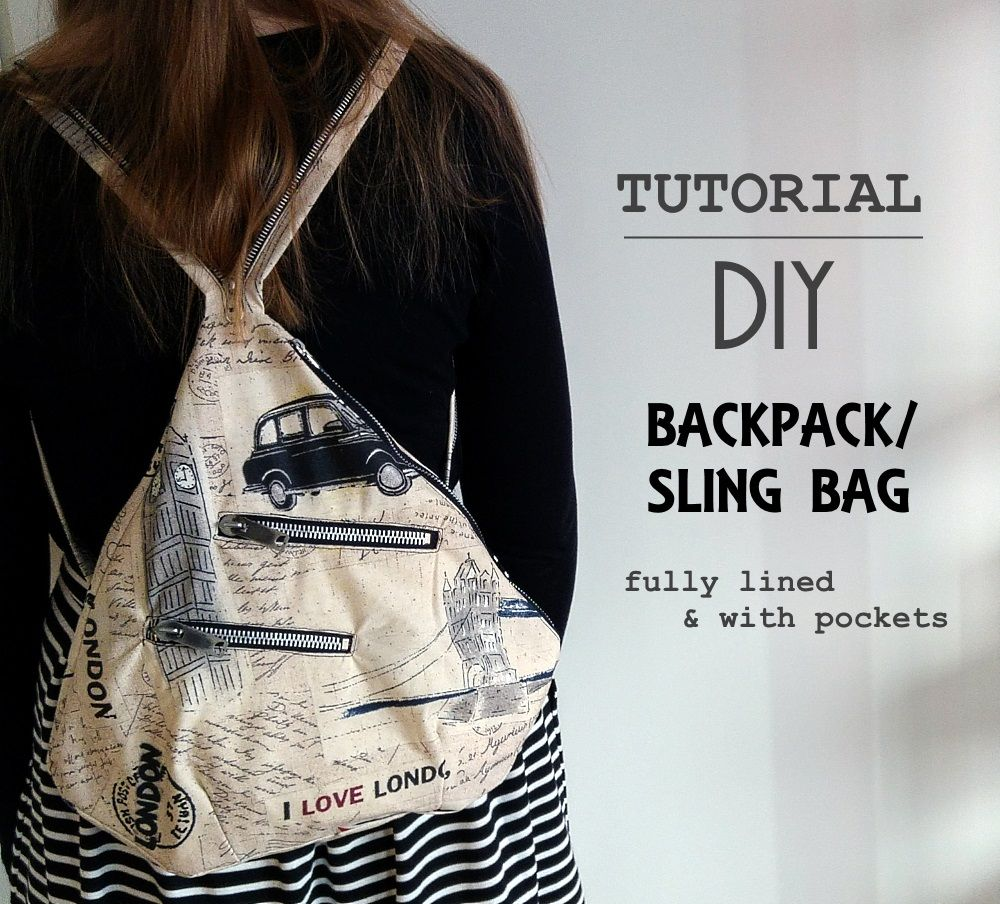 Sew Scoundrel: Tutorial: DIY backpack / sling bag with lining and pockets