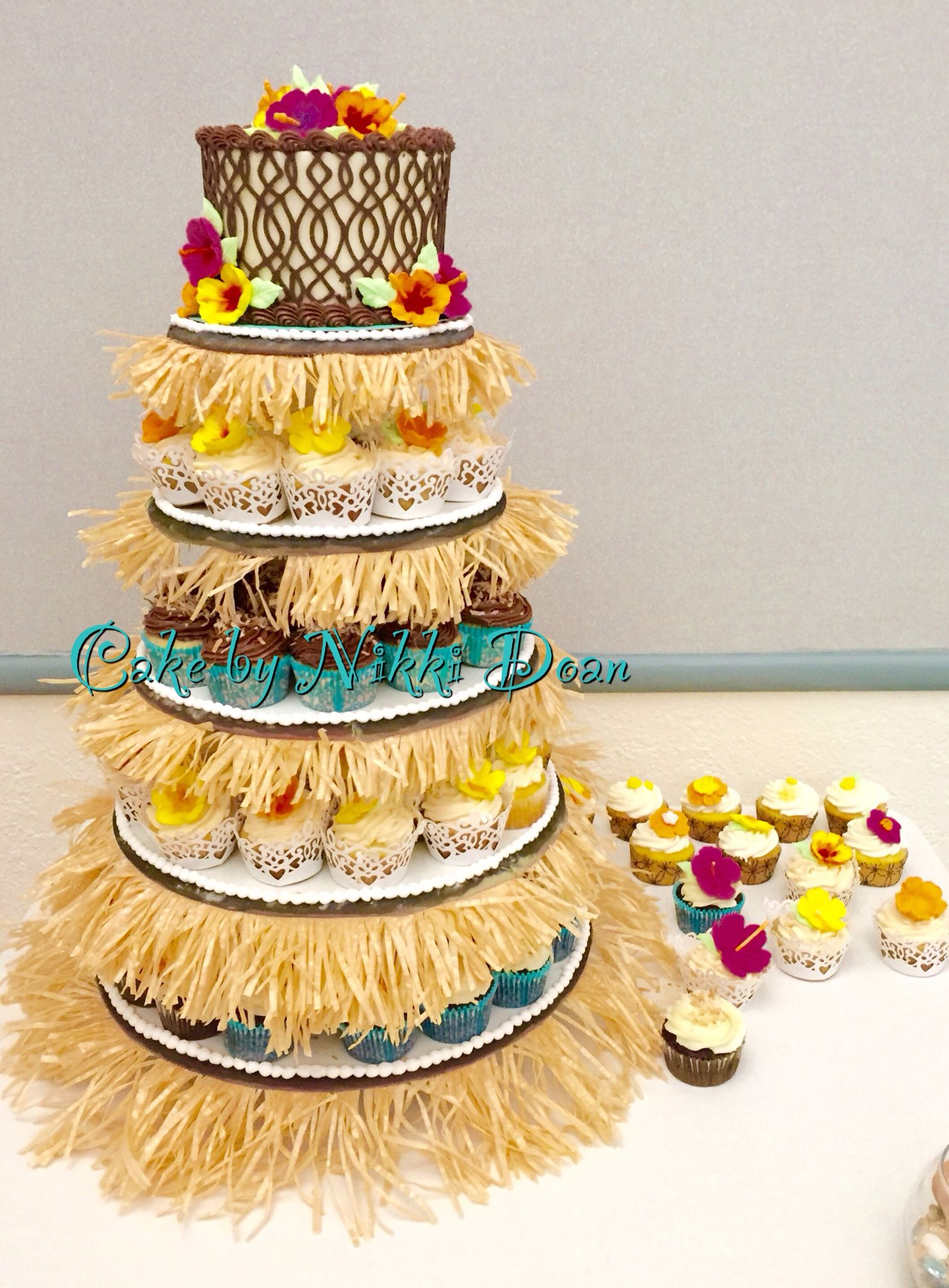 Hawaiian luau wedding cake with grass skirt cupcake stand | Cakes by ...
