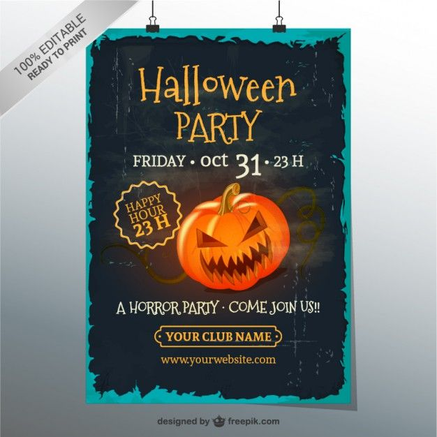 Grunge Halloween party poster template halloween Pinterest - invite template free download