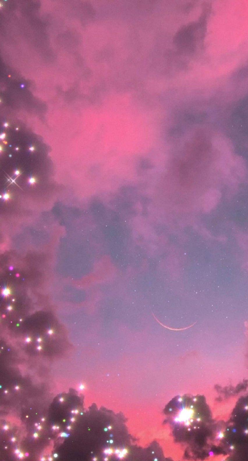 Pink Clouds Glitter Iphone Wallpaper Sky Pink Wallpaper Girly Nebula Wallpaper