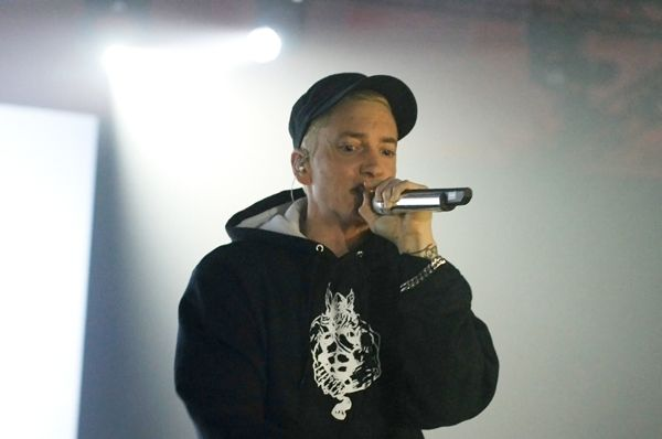 Eminem performs in New York City.