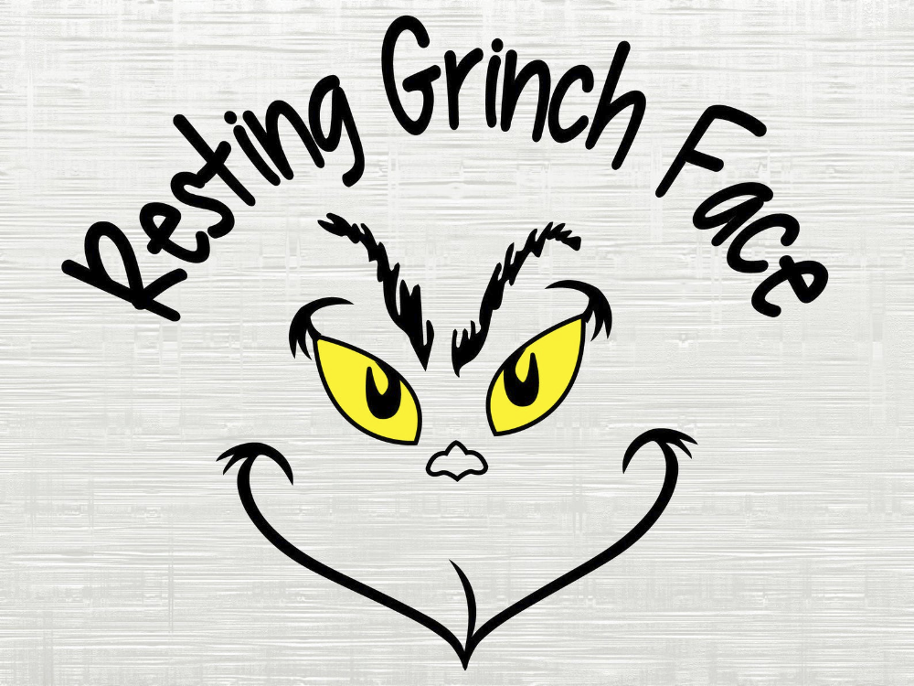 Resting Grinch Face Funny Christmas SVG, Png, Dxf, Eps