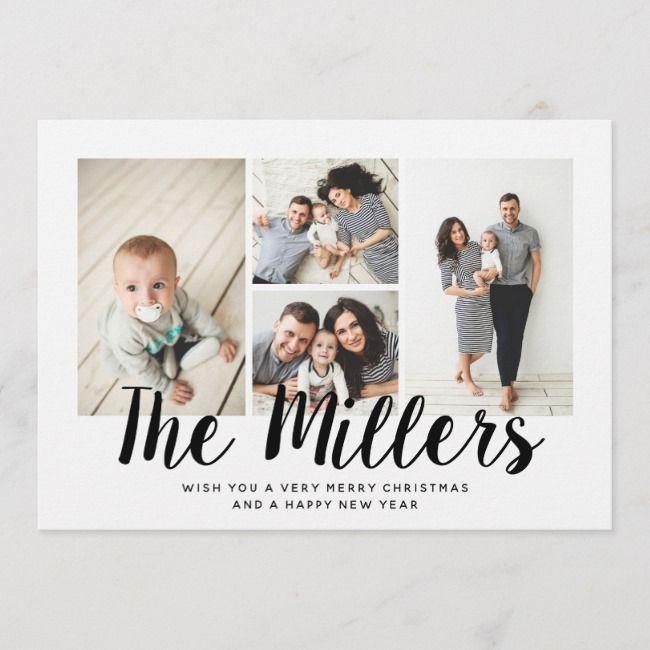 Personalized Family Name Holiday 4 Photo Collage | Zazzle ...