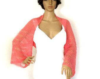 Knit shrug, Knit bolero, Loose knit shrug, Long sleeve shrug, Cropped jacket, Spring shrug, Wedding shrug, Summer shrug,