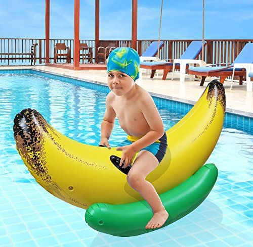 Huge Over Sized Inflatable Banana Ride On Float Enjoyed By Kids And Adults  Alike For A Great Pool Experience. Use As A Lounger Or For Just Any Fun Pool  ...