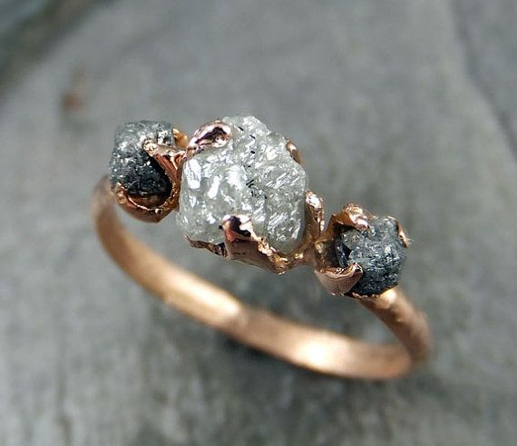 RESERVED Diamond Engagement Ring Rough Uncut 14k rose Gold Wedding