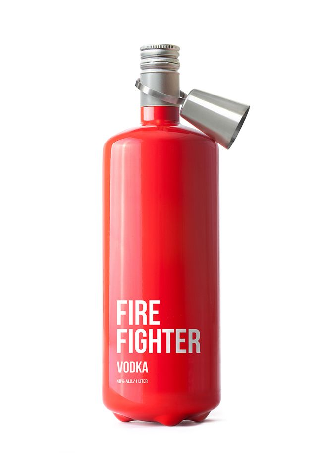"""""""Use in case of party"""" / FireFighter Vodka bottle concept by Timur Salikhov."""