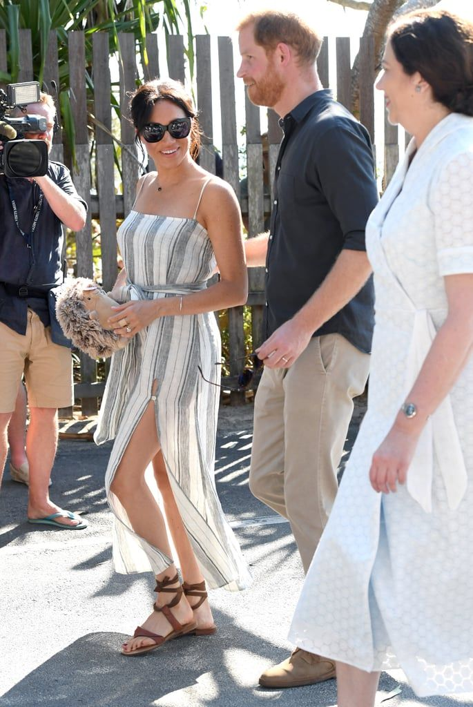 6d0413f3cd Meghan Markle Headed Out For the Day in a Reformation Dress and Sarah Flint  Sandals