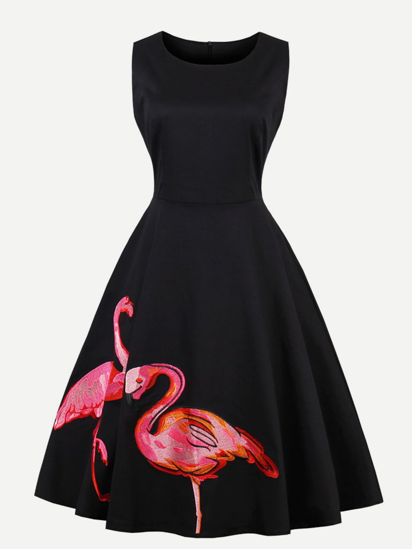 2f2ed8ebab Shop Flamingo Embroidered Swing Dress online. SheIn offers Flamingo  Embroidered Swing Dress & more to fit your fashionable needs.