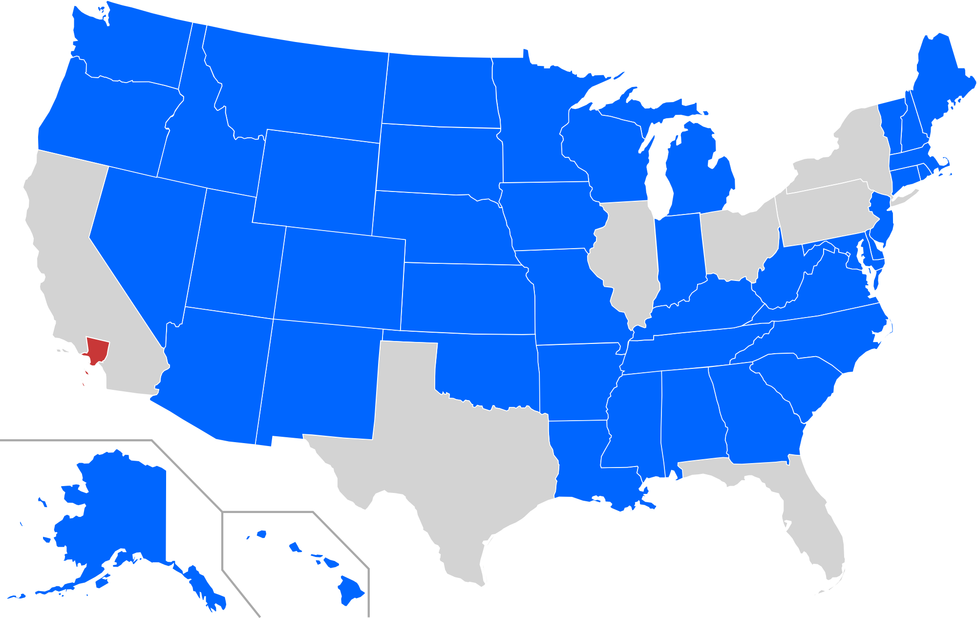 States With A Smaller Population Than The  Million Inhabitants - Los angeles in map