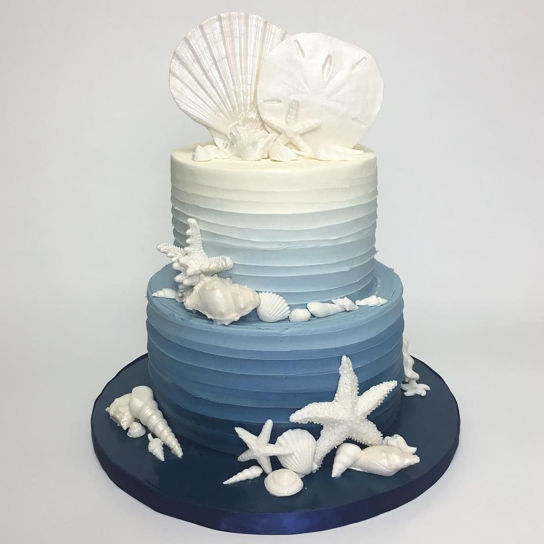 Pleasant Seashell Ombre Cake Deliciousarts Seashells Ombre Blue Ocean Funny Birthday Cards Online Elaedamsfinfo