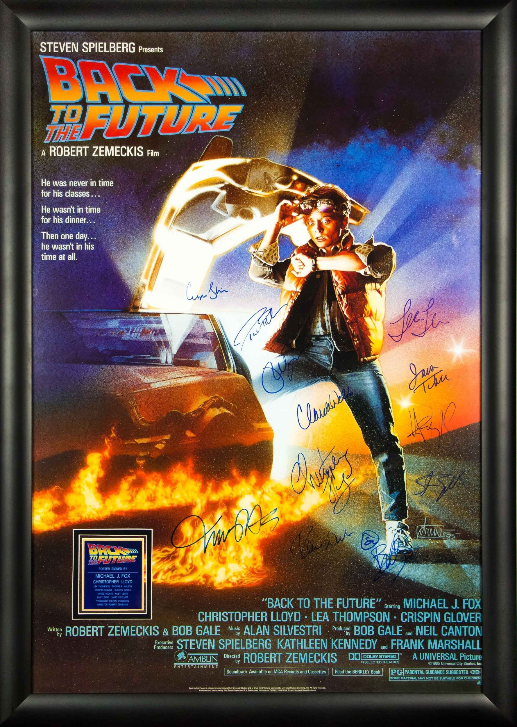 Back to the future autographed signed movie poster wood