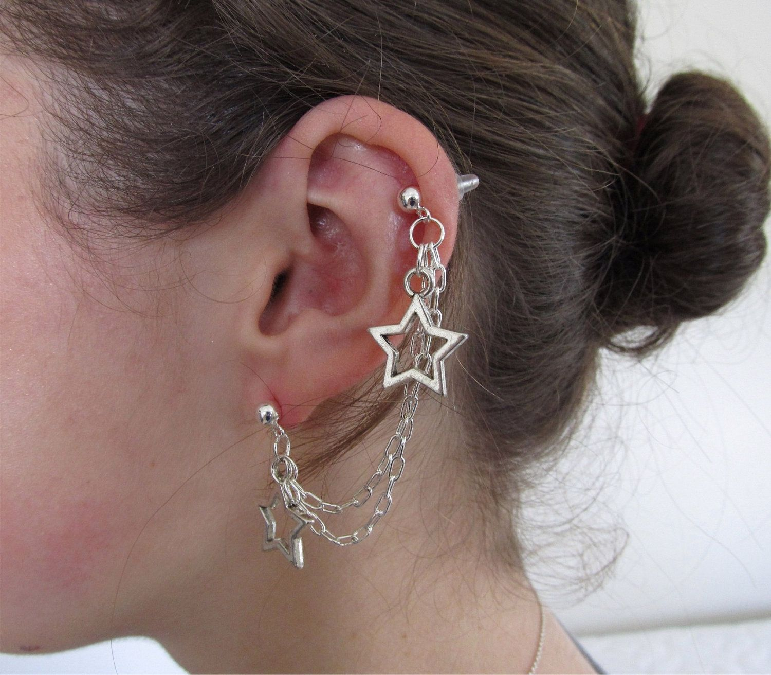 Star Double Chain Cartilage Earring. $9.50, via Etsy.