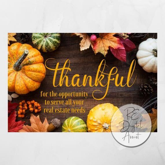Thanksgiving Real Estate Postcard Front, Thankful