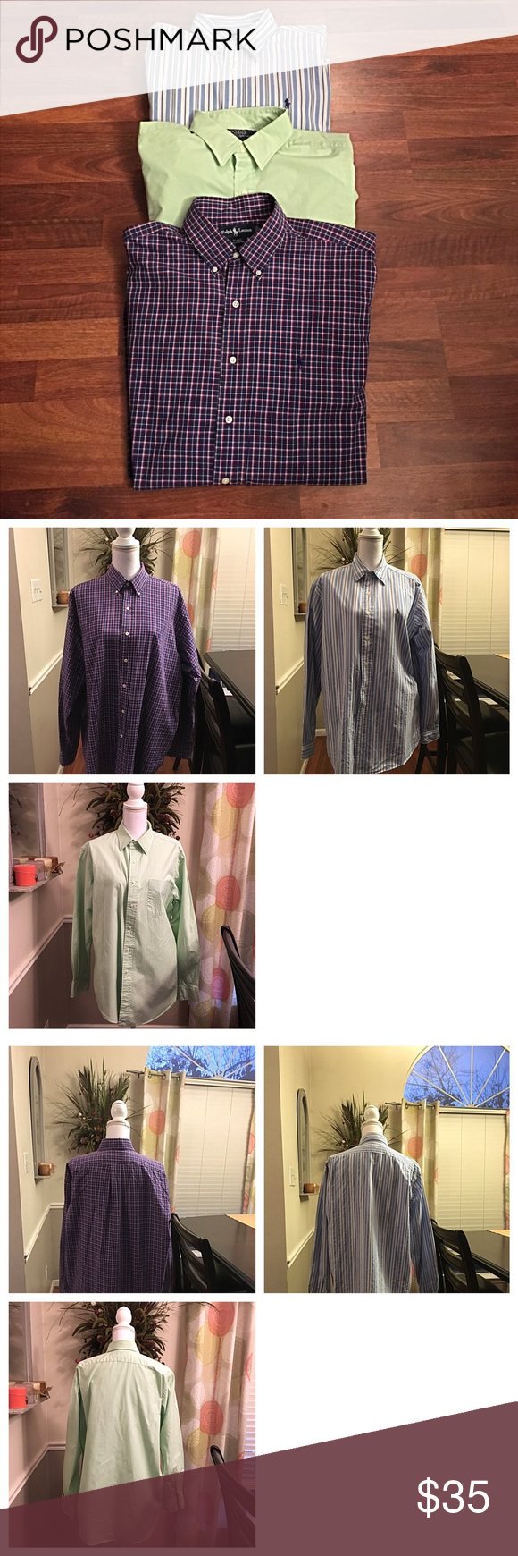 Ralph Lauren 3 pack bundle deal Ralph Lauren 3 pack bundle deal!!! All 3 shirts are in brand-new condition.  Hardly worn at all. shirts have never been dried. No holes stains or tears!!! Excellent shirts. Don't miss out of this great deal!!!👍🏻💋 Ralph Lauren Shirts Dress Shirts