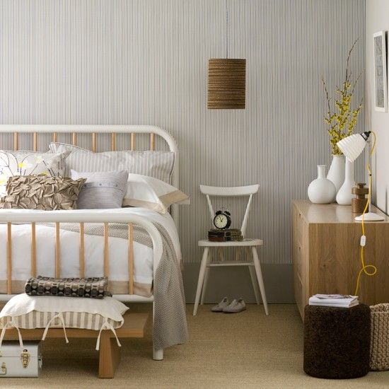 Neutral Bedroom with Monochrome Wallpaper