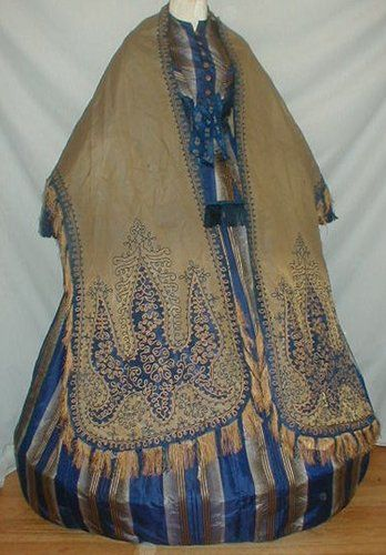 Rich 1860's Changeable Silk Olive Green & Royal Blue Silk Mantle