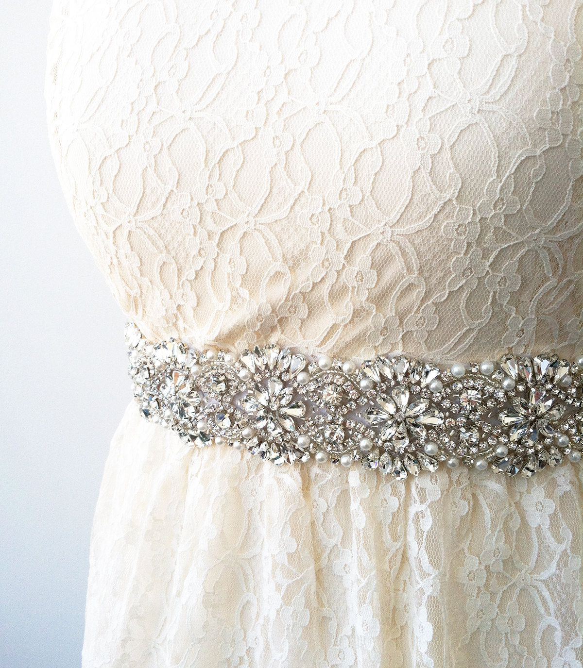 Wedding dresses with rhinestones  Wedding Dress Sash  Rhinestone  Pearl  Swarovski  GEORGIA Sash