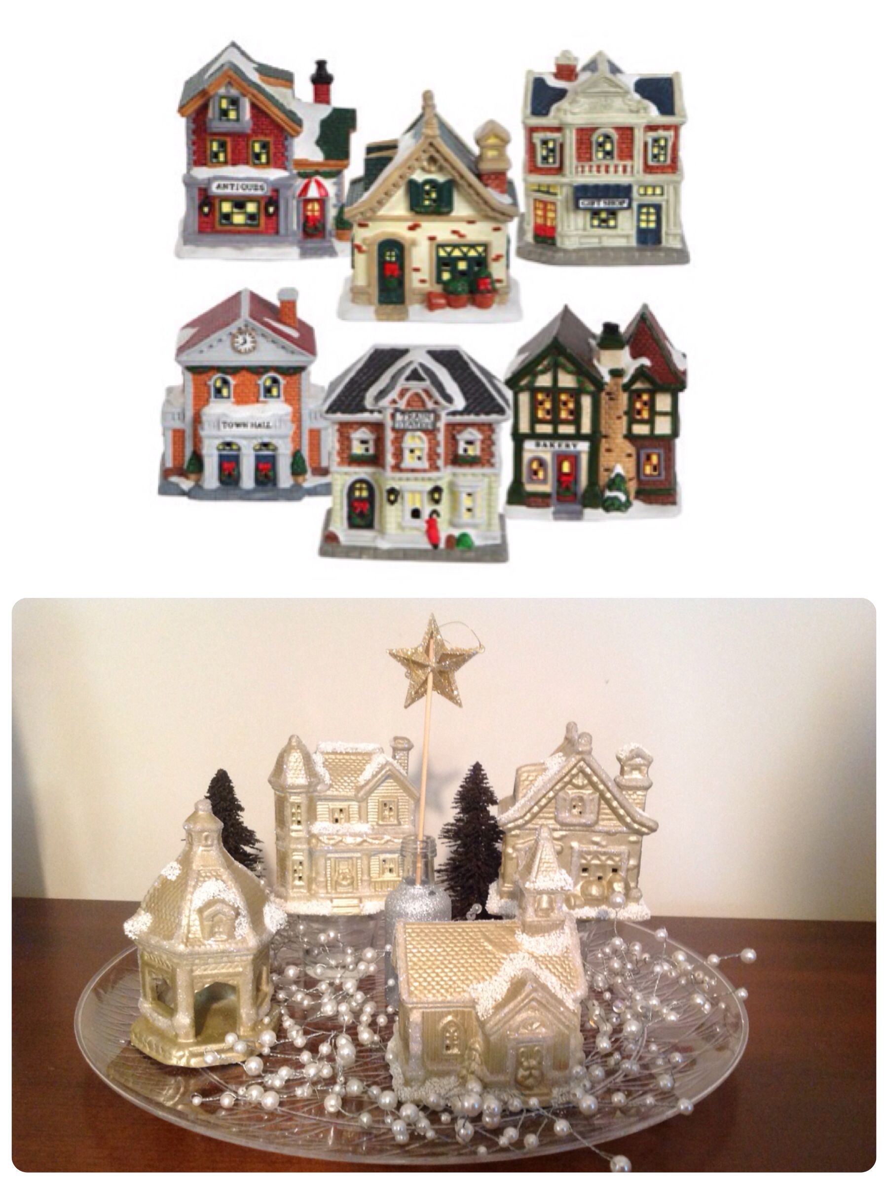 How To Store Christmas Village Houses.Diy Christmas Village Dollar Tree Ceramic Houses Spray