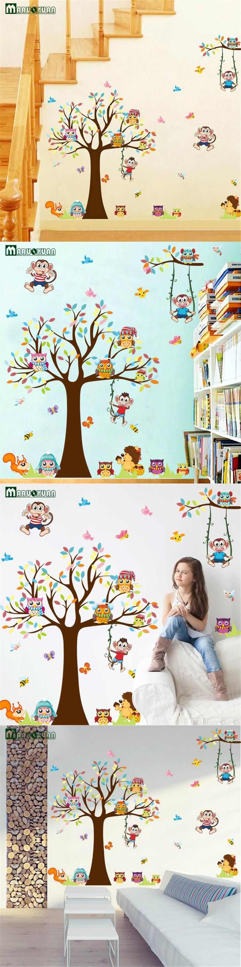 New Tree Cartoon Owl Monkey Animal Fashion Bedroom Living Room Kids ...