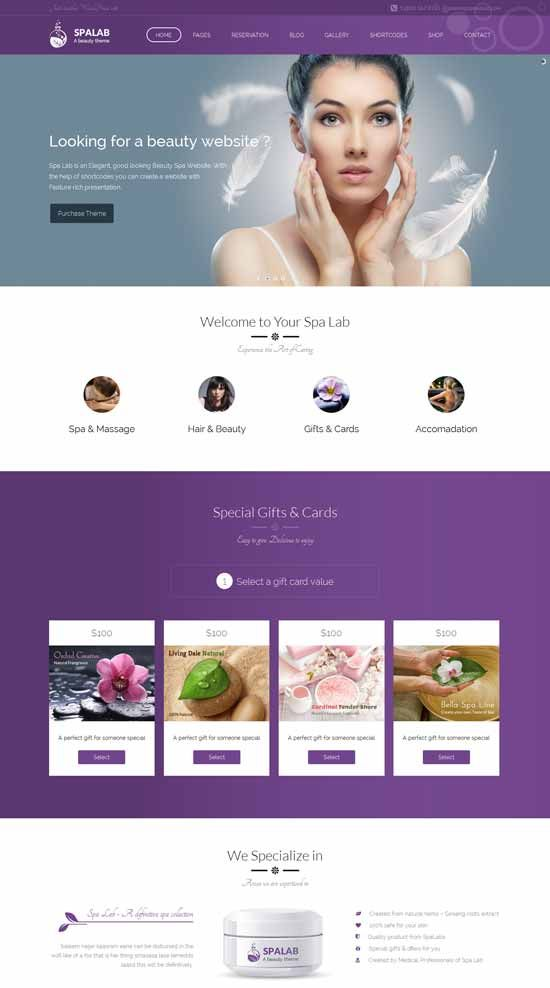 Spa-Lab-Beauty-Salon-WordPress-Theme | Beauty Care Themes | Pinterest