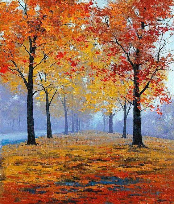 Autumn Tree Misty Path Painting Idea With Depth Autumn Painting Oil Paintings Fall Oil Painting Trees