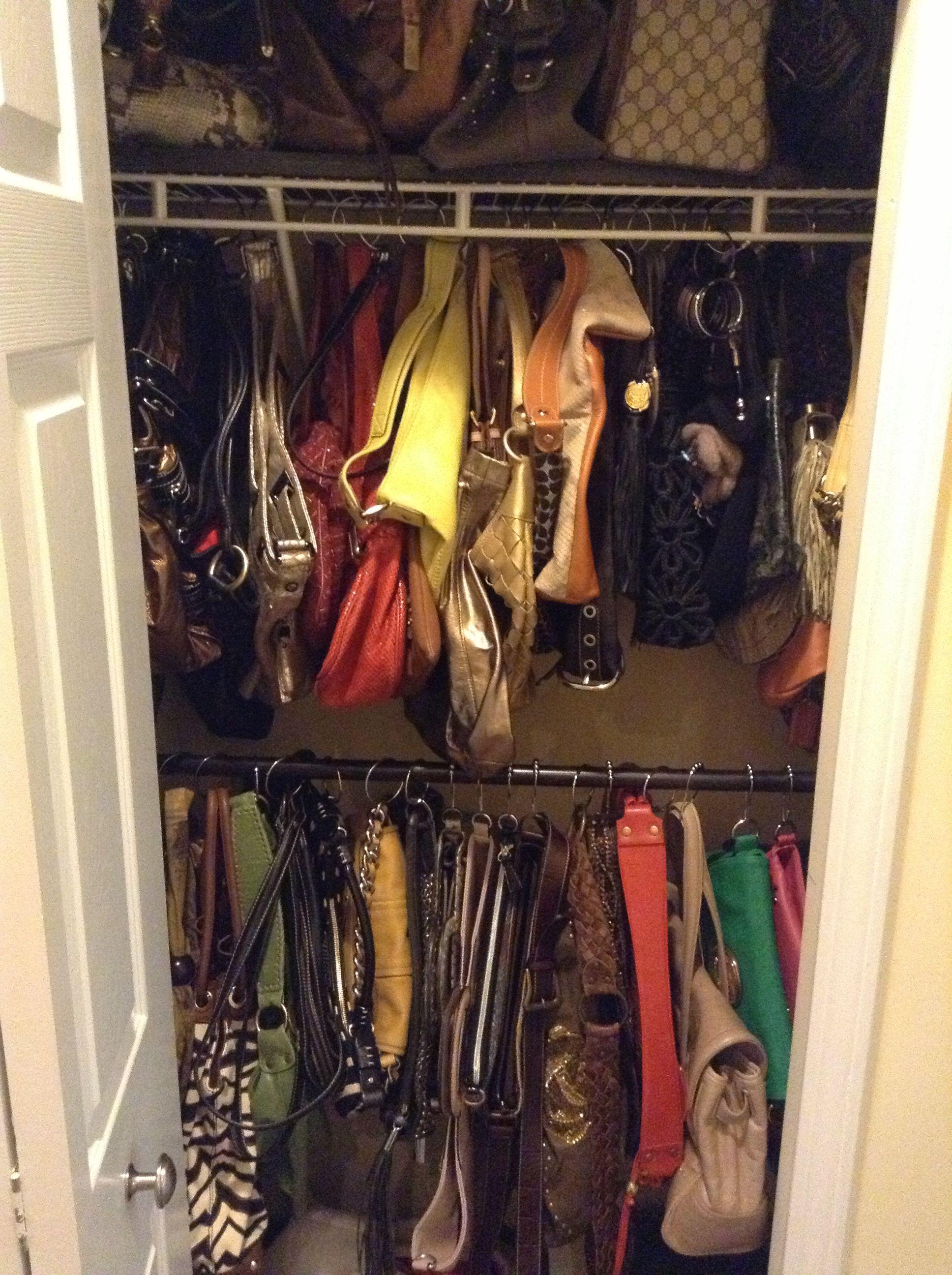 Tiny hallway closet transformed into purse closet using existing ...
