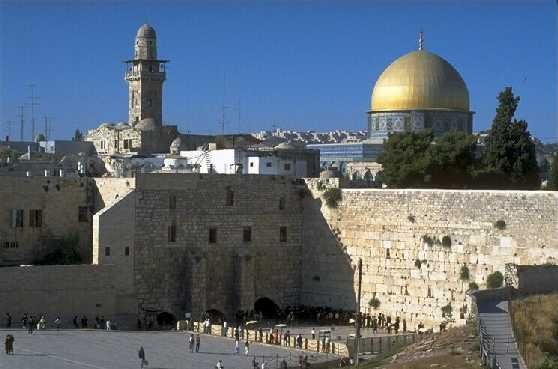 The Western Wall and the Temple Mount in Jerusalem. From http://xenohistorian.faithweb.com/neareast/