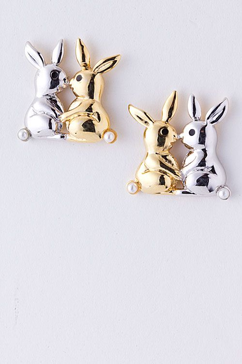 Kissing Bunny Earrings on Emma Stine Limited $31