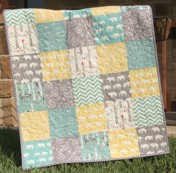 Baby Quilt Organic Gender Neutral Yellow Aqua Pool Teal