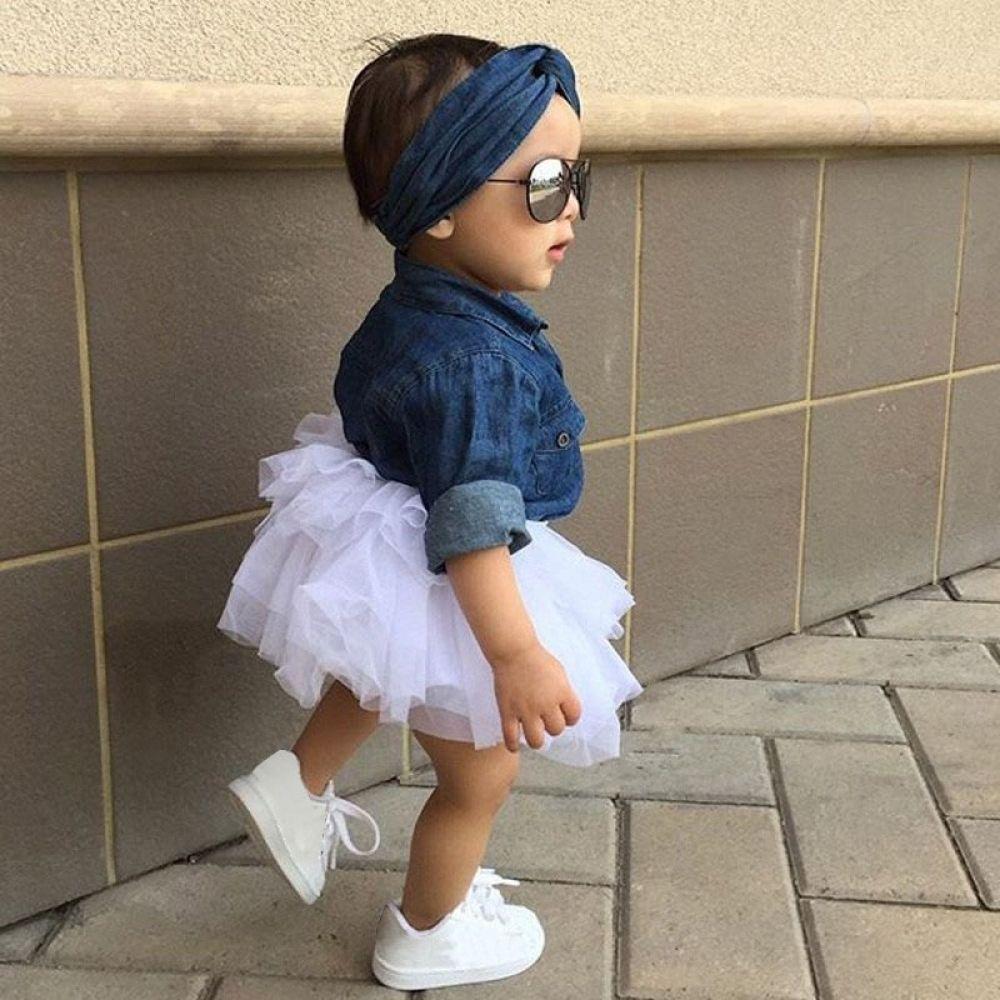 Baby Girl 3 Piece Denim Dress #babygirlheadbands