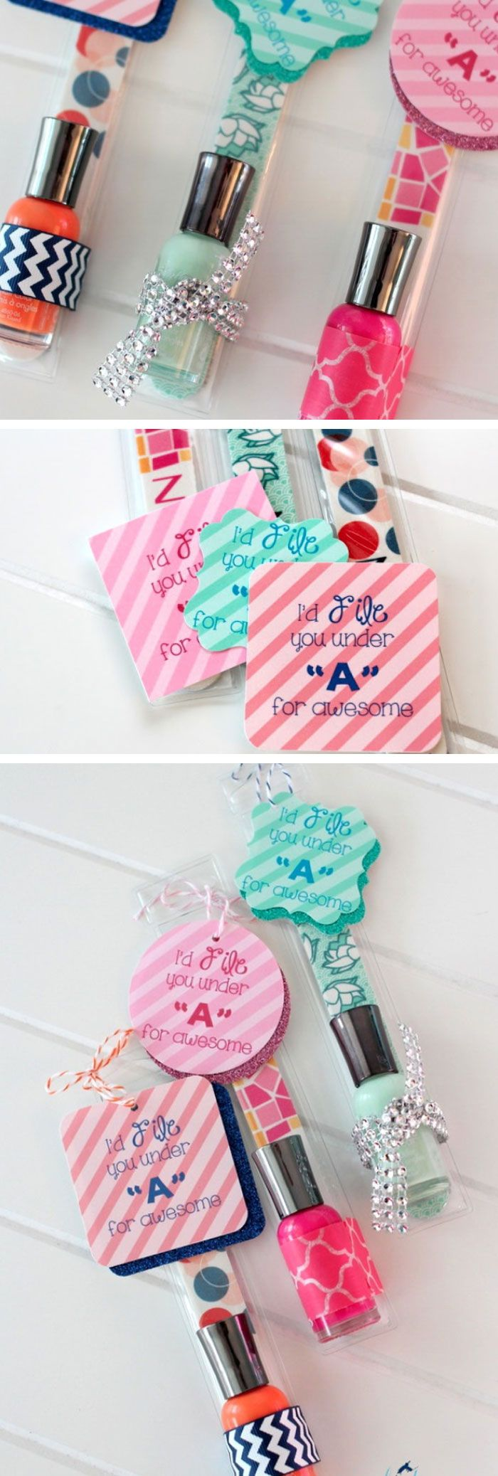 Nail File and Polish Gift   Click Pic for 22 DIY Stocking Stuffers for Teen Girls   DIY Holiday Gifts for Teen Girls