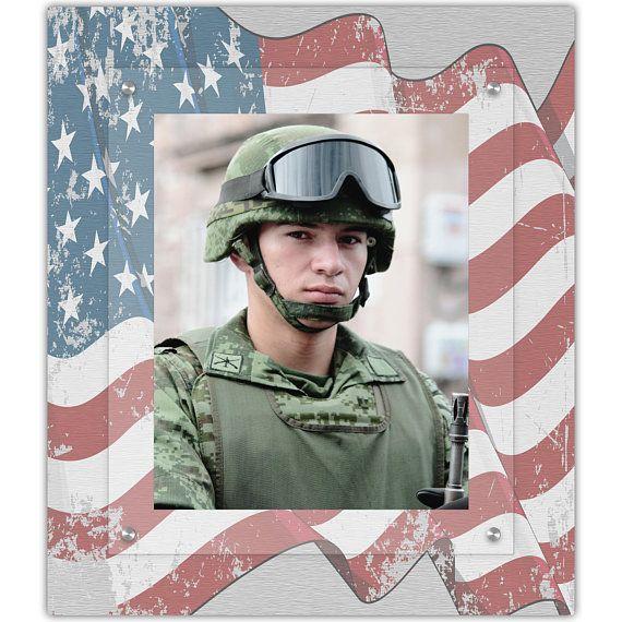Military American Flag Framed Wall Art 8x10 Portrait Photo Frames