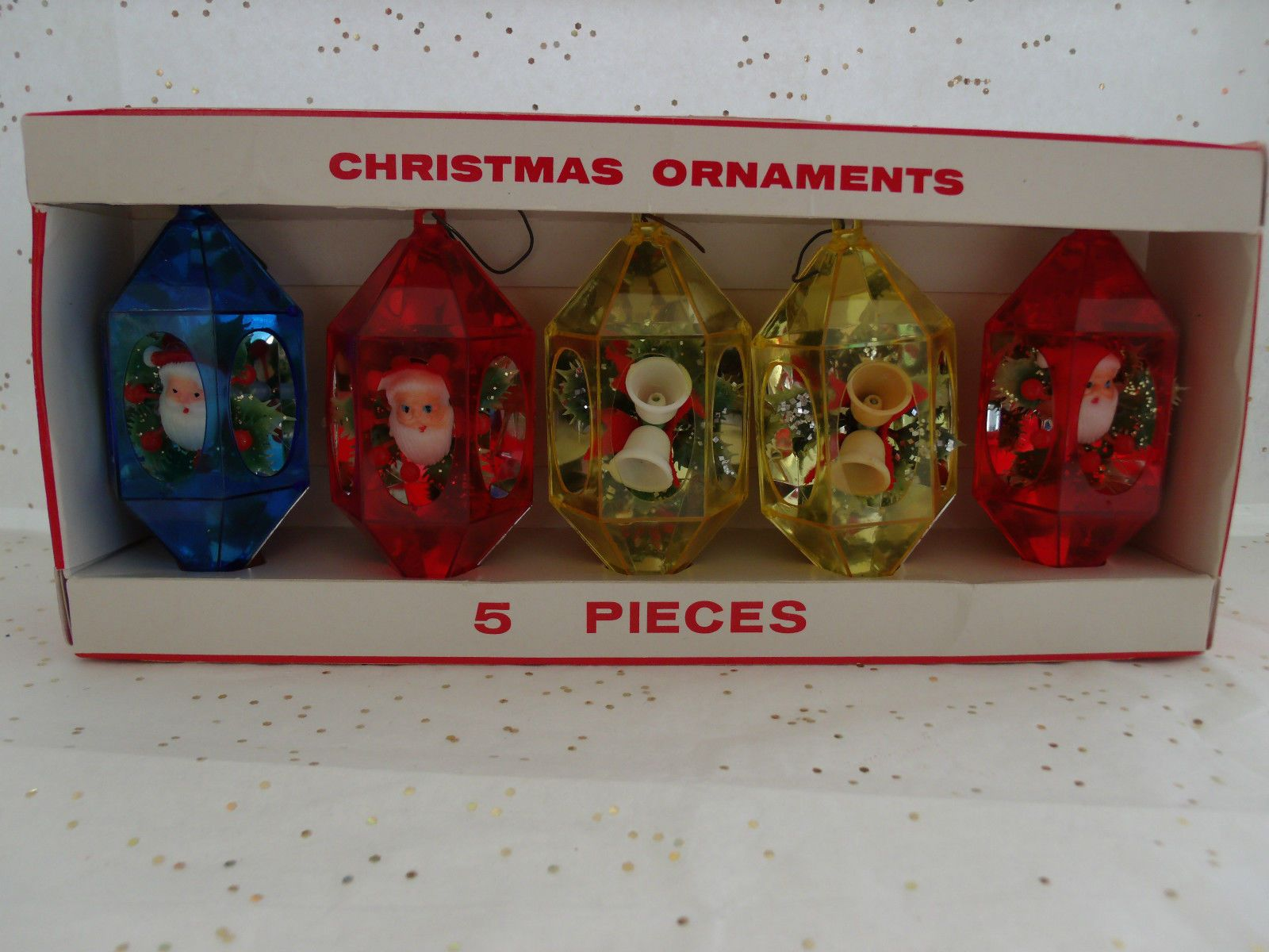 5 Vintage Hard Plastic 3D Christmas Ornaments in Box Jewelbrite Santas Bells   eBay