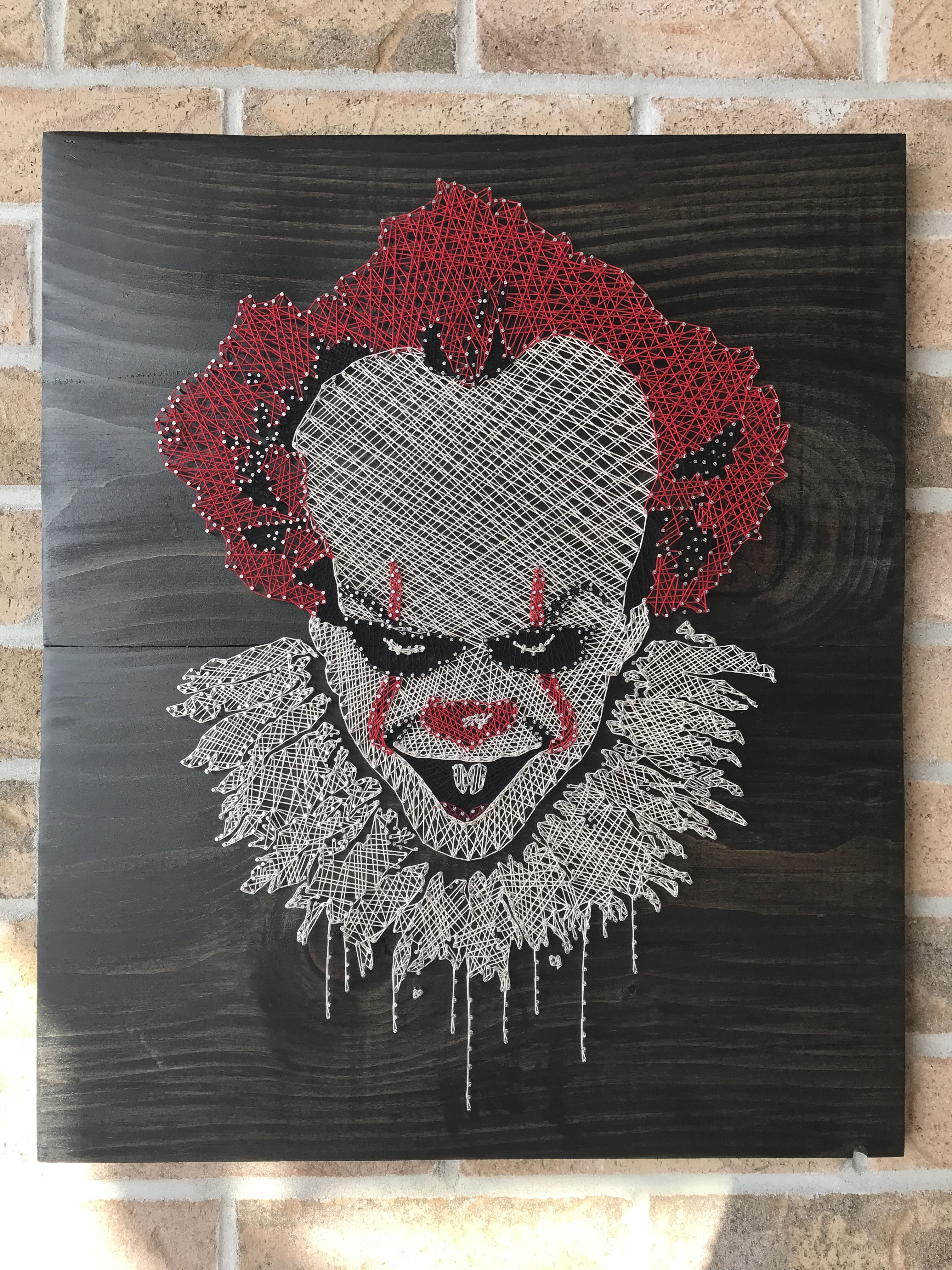pennywise string art an interesting project to do hours invested in this one for sure wood. Black Bedroom Furniture Sets. Home Design Ideas