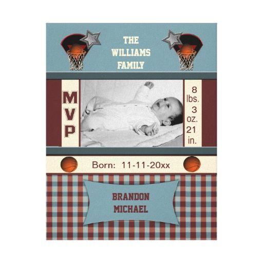 Basketball MVP Birth Record Wrapped Canvas Canvas Print